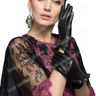 Laides Genuine Goatskin Women's Leather Black Gloves For Women With Flounced
