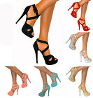 WOMENS ANKLE STRAPPY PEEP TOE STILETTO HIGH HEELS PLATFORM SHOE SANDAL SIZE PROM