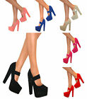 WOMENS MARY JANE PLATFORM CHUNKY BLOCK HIGH HEELS COURT SHOES STRAP BUCKLE SIZE