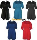 Shirt Dress with Cinched Elastic Waist Band 3/4 Sleeve Studded Silver Buttons