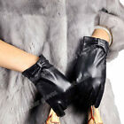 Women's Driving Leather Gloves Genuine Goatskin For Women With Bow Black Ladies