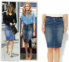 New blue washed denim knee length pencil skirt size 6-18