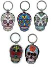 "Sunny Buick SUGAR SKULL Metal Keyrings 2.25"" x 1.75"" Key Chains Choice of design"
