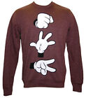 Mens Ladies Womens Sweatshirt Top Jumper Disney Mickey Mouse Stone Paper Scissor