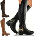 WOMENS LADIES OVER THE KNEE THIGH HIGH STRETCH PULL ON FLAT LOW HEEL BOOTS SHOES