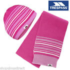 TRESPASS Girls Fleece lined Hat & Scarf set Warm Pink Stripe Winter Gift Kids