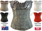 New Ruffled Bust Overbust Corset Top Renaissance Vintage Inspired Lace Up Floral