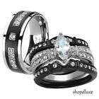 Kyпить HIS HERS 4 PC BLACK STAINLESS STEEL & TITANIUM WEDDING ENGAGEMENT RING BAND SET на еВаy.соm