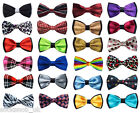 Mens one size pre tied satin evening wedding bow tie 35 colours
