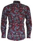 Relco Paisley Shirt - PS5 - RED - 60s Button Down Collar Mod Skin 100% Cotton