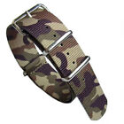 Camouflage Nylon Watch Strap, Military-Style Nylon Band, SS Buckle and Keepers