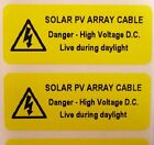 Electrical Safety Warning Labels - SOLAR PV ARRAY CABLE - Yellow 50mm x 20mm