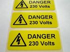 Electrical Safety Warning Labels - 230V Voltage Labels - Yellow 50mm x 20mm