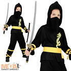 Ninja Japanese Boys Fancy Dress Child Kids Halloween Costume 3,4,5,6,7,8,9,10