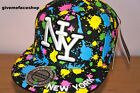 wholesale paint splash flat peak caps & snapbacks, NY fitted hat, price for 6