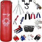 TurnerMAX Red Heavy Punch bag Set and Gloves Ceiling Bracket Gripper Rope Chain