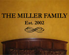 Custom Family Name Established Date Personalized Vinyl Wall Decal Sticker Quote