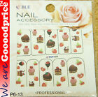 Color Printing Water Tranfer Nail Art Stickers Gift Cake Style 6-13