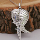 925 Sterling Silver 3D Angel Wing Love Heart Locket Pendant Chain Necklace w Box
