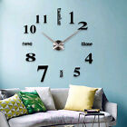 Hot Modern DIY Large Wall Clock 3D Mirror Surface Sticker Home Office Decor