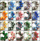 50pcs Wholesale Flowers Lampwork Murano Glass Beads Fit European Charm Bracelet