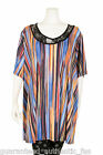 EDMOND DE PARIS MULTI ABSTRACT PRINT LACE NECK TUNIC plus size UK18-28