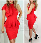 Ladies Red Sleeveless Ruffle Side Peplum Frill Bodycon Midi Party Dress