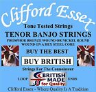CLIFFORD ESSEX TENOR BANJO STRINGS. LIGHT GAUGE. MADE IN GREAT BRITAIN.