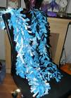 """New Handmade fleece boa scarf scarves Snowflake blue white aprx 65"""" inches long"""