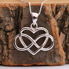 925 Sterling Silver Infinity Love Heart Pendant Chain Necklace Handcraft w Box