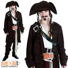 Rum Smuggler Mens Costume + Hat Carribean Film Pirate Adults Fancy Dress Outfit