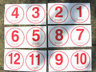 """RED 5"""" WHEELIE BIN HOUSE NUMBERS STICKERS VINYL PEEL AND STICK HIGH VISIBILITY"""