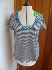 BODEN NAVY BLUE WHITE STRIPED TOP WITH HOTCHPOTCH NECKLINE DETAIL MEDIUM BNWT