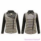 NEW LADIES FAUX LEATHER COLLARED PU KNITTED SIDE ZIP CHECK JACKET COAT SIZE 8-16