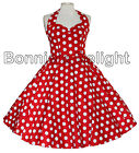HELL BUNNY RED WHITE POLKA DOTS RETRO VINTAGE SWING 1950S ROCKABILLY DRESS 8-16