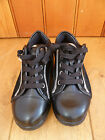 SCHOLL STARLIT BLACK LEATHER TRAINERS SILVER TRIM TONE UP 2.5 3 5 35 36 38 NEW