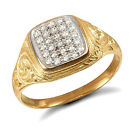 Gents 9ct Yellow Gold Cluster Ring Hand Finished