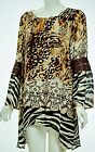 Tunic Long Sleeve Animal print multi-color Acetate Polyester Plus Size Blouse 2X