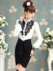 Luxury Brand Black Lace Tops Vintage Ruffles Puff Sleeve Women White Blouse SH82