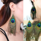 New Fashion Cute Lady Peacock Feather Earrings Dangle Style Studs Earrings