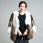 Women's Knitted Real Raccoon Fur Coat Jacket