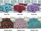 Polycotton Flower Printed Reversible Duvet/Quilt Cover Bed Set With Pillow Cases