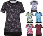 Womens Plus Size Printed Ladies Stretch Short Sleeve Contrast Long Top T-Shirt
