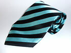 100% Silk Tie Men's Necktie - Black, Teal or Dark Purple Stripes
