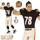 American Footballer Mens Fancy Dress USA Sports Uniform Adults Costume Outfit