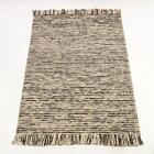 SALE Retreat Maya Charcoal  Cream Fringed Wool Rug in various sizes