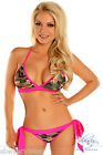 Womens Pink Camo Camouflage Padded Halter Top Scrunch Bat...