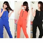 New Women's Fashion Sleeveless Zipper Combination Jumpsuits Pants S-XL WKL117