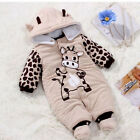 New Baby Kid Toddler Winter Romper Warm Outfits Hooded Coat Jumpsuit 3-9M