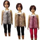 Girls Leopard Tunic Dress, Top Leggings &Necklace 3 Pieces Set/Outfit 3-12ys #78